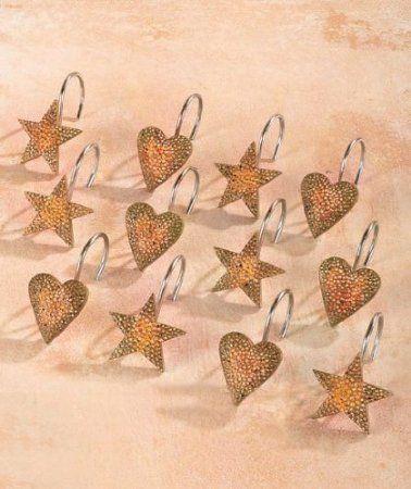 Amazon Com 12pc Country Hearts And Stars Bathroom Bath Linda Spivey Shower Curtain Hooks Decorative