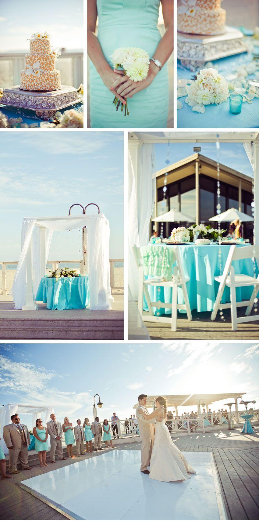 Beach Wedding Light Aqua Blue Tiffany Gold Color Palette Coronado