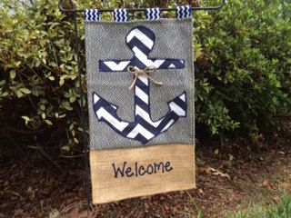 Hand-Painted Burlap Monogrammed Anchor