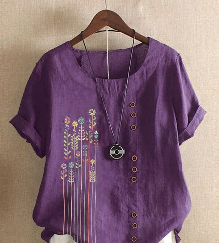 Bohemian Print Button Crew Neck Short Sleeve T-Shirts - Blue 14 -  US$16.99US$37.3155% Off  - #blue #Bohemian #Button #Crew #longbootsoutfitnight #Neck #Print #short #sleeve #TShirts