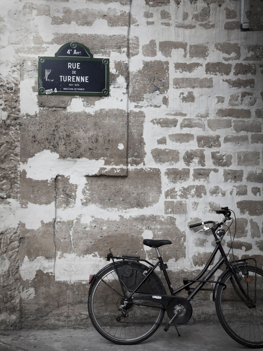 Bicycle and street sign paris france photographic print by jon