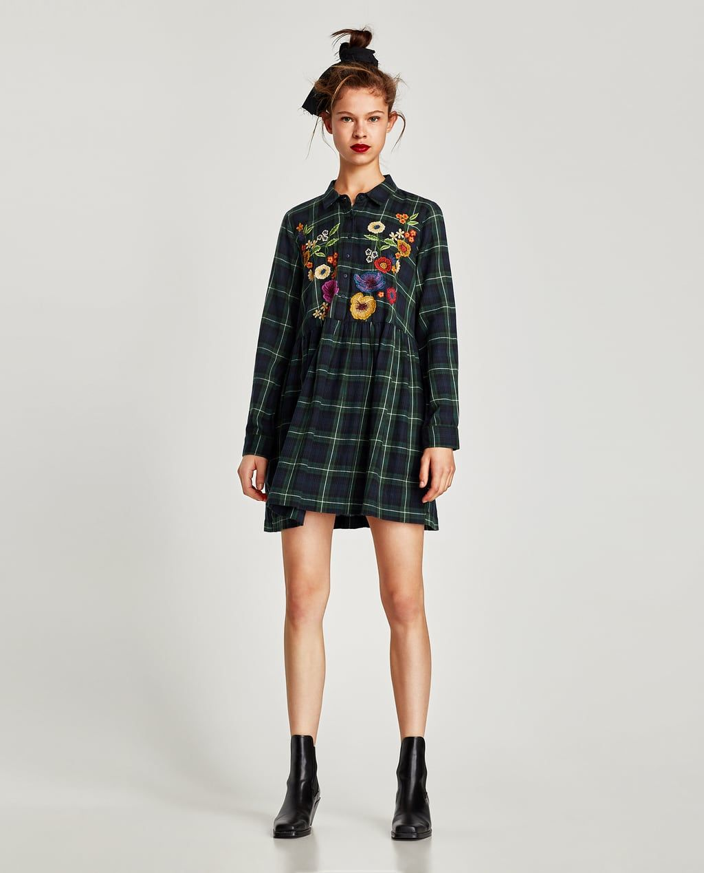 73521875 Image 1 of CHECKED DRESS WITH FLORAL EMBROIDERY from Zara | tunic ...