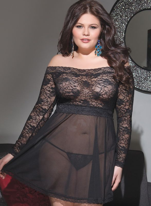 Plus Size Sexy Bed Wear Babydoll Plus Size Sheer Sexy Babydoll