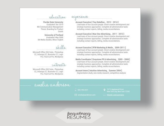Teal Design Resume + Cover Letter Word Template (Landscape Format - resume cover letter word template