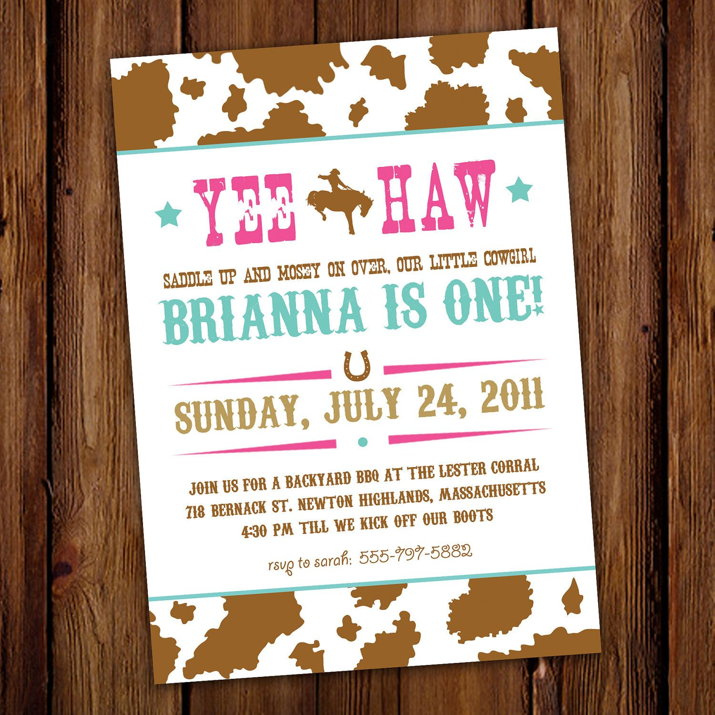 Rodeo Cowgirl Birthday Invitation - Hoedown - Yee Haw. $15.00, via ...