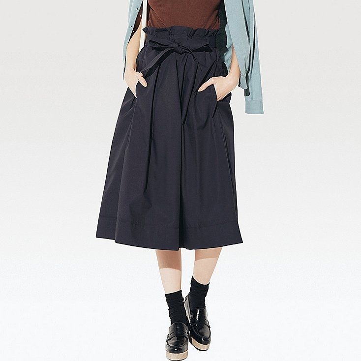 Women high waist belted flare midi skirt | High waist, Uniqlo and Navy