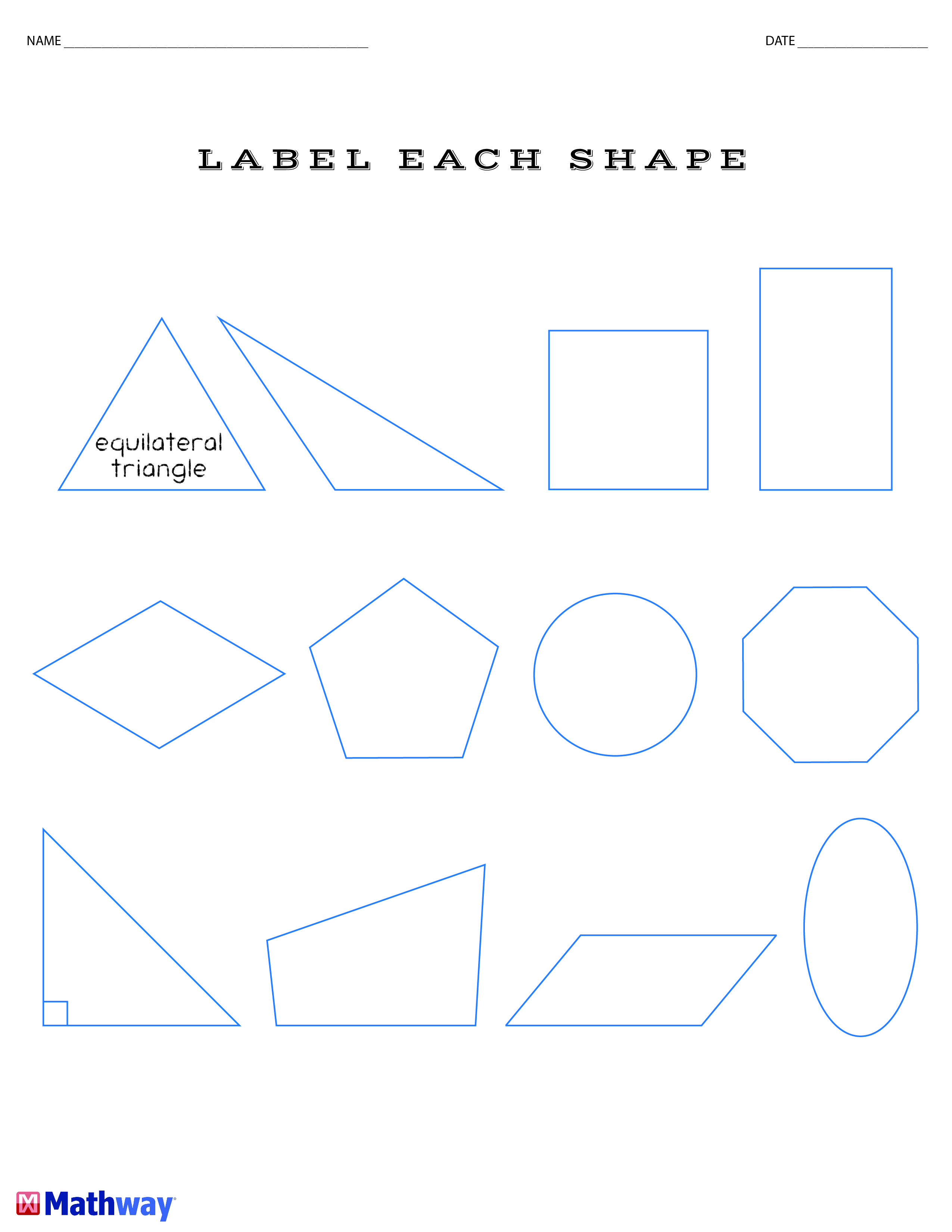 Label Each Shape Math Worksheet Follow Our Board For A