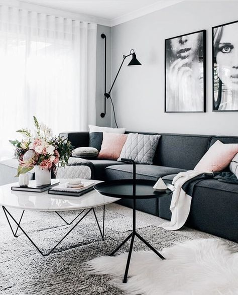 Dark Gray Couch Scandinavian Design Living Room Living Room