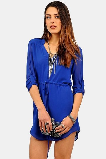 Kane Drawstring Dress - Blue