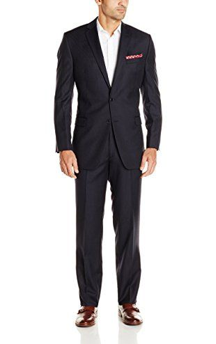 Calvin Klein Men's Pinstripe 2 Button Side Vent Slim Fit Suit ...