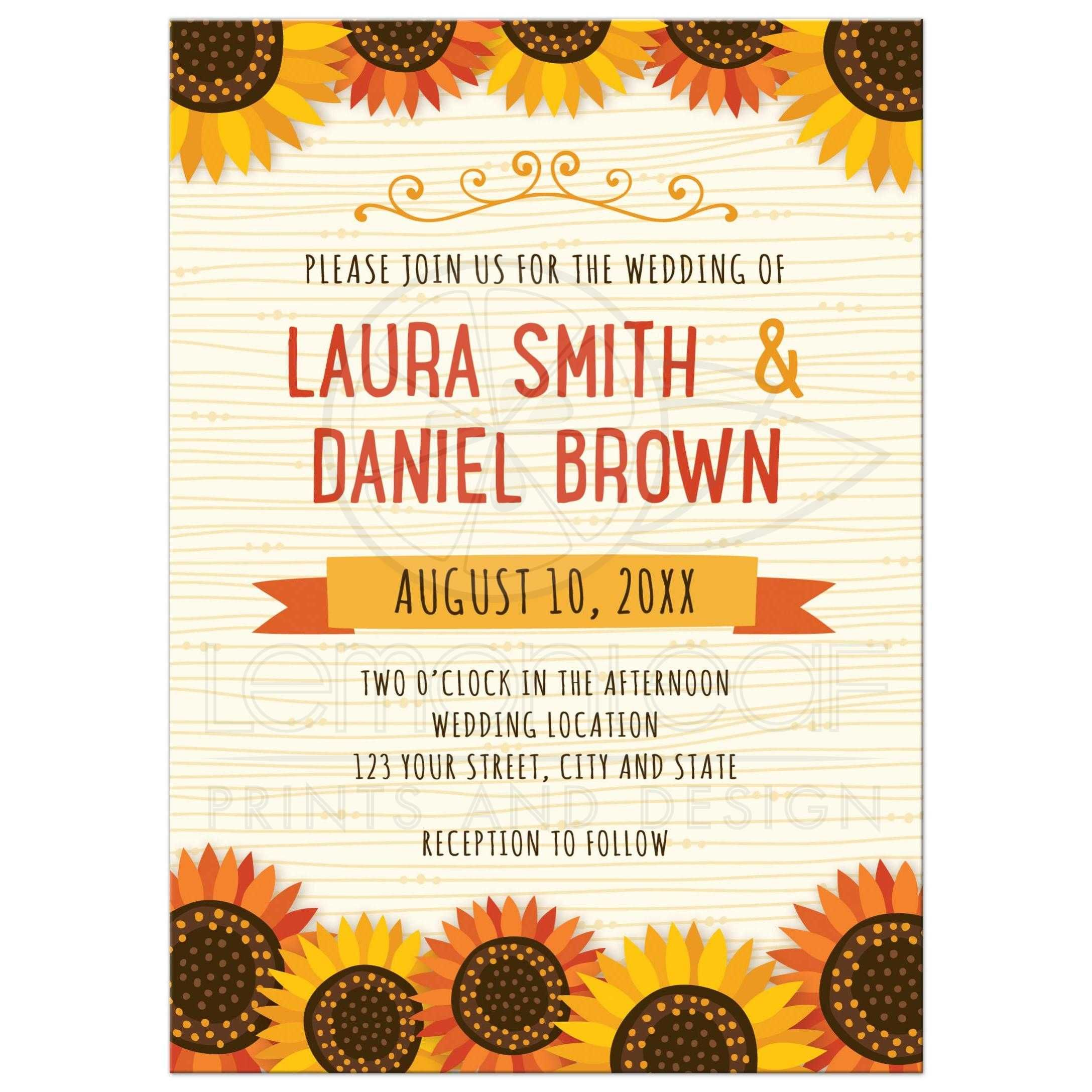 Cute Wedding Invite Wording: Whimsical Sunflowers On Wood Illustration Background