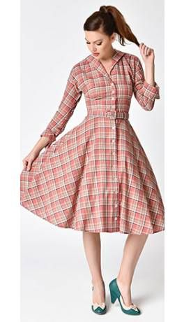 ac34560bb9ae93 Unique Vintage 1950s Style Pink Plaid Cotton Sleeved Brooklyn Shirtdress