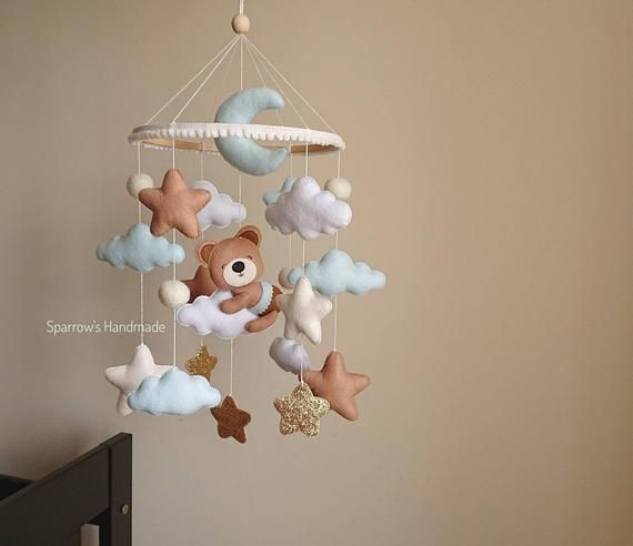 Check Out This Item In My Etsy Shop Https Www Etsy Com Listing 722243830 Baby Mobile With Bear On Cloud Modern Baby Toys Baby Mobile Teddy Bear Nursery Theme