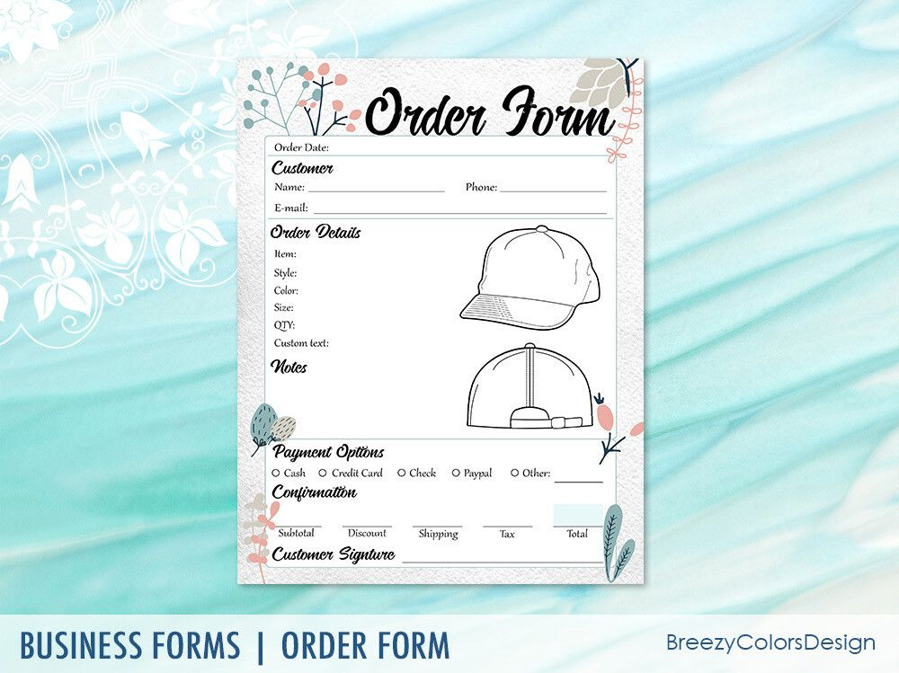 Hat Order Form 8 5x11 Inches Breezy Colors Design Order Form Business Printables Embroidery Shop