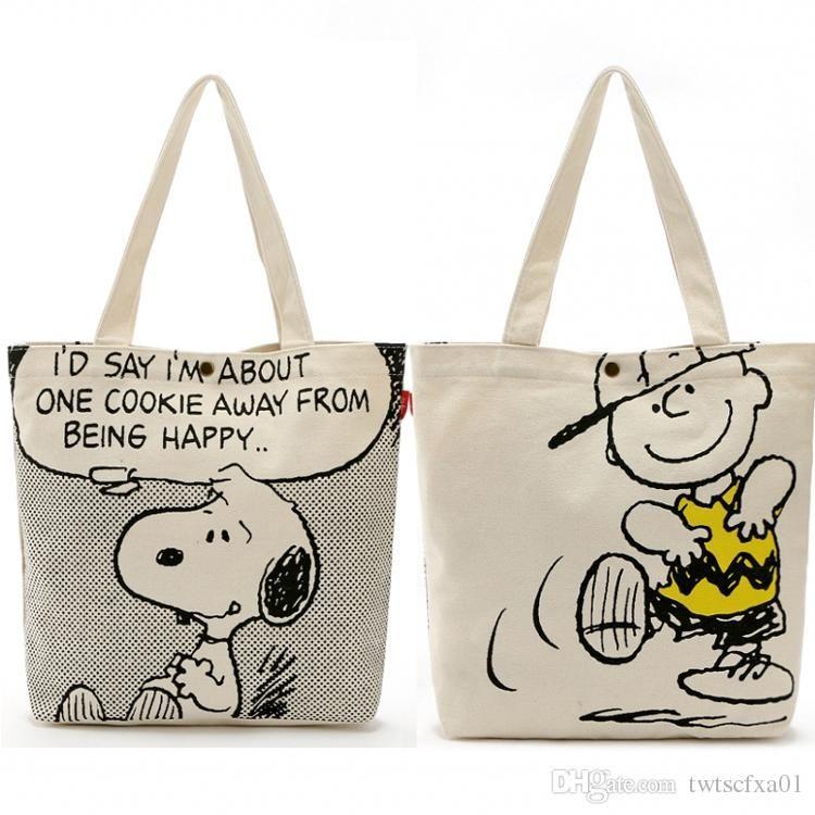 e1fe13424c9b Wholesale Two-sided Kawaii Snoopy Cartoon Dogs Canvas Shopping Bag ...