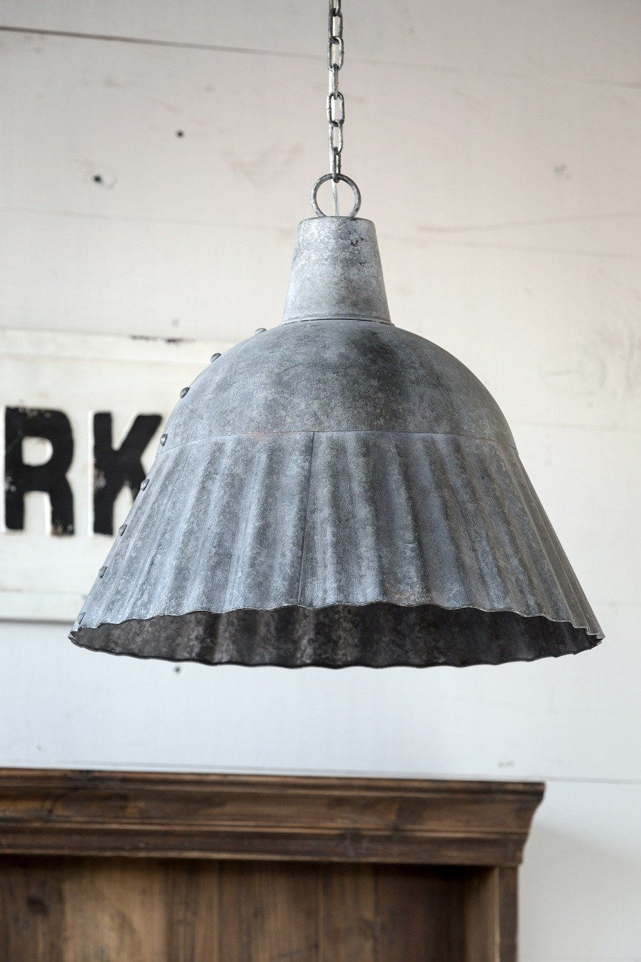 This Fluted Galvanized Pendant Light Is Large Enough To