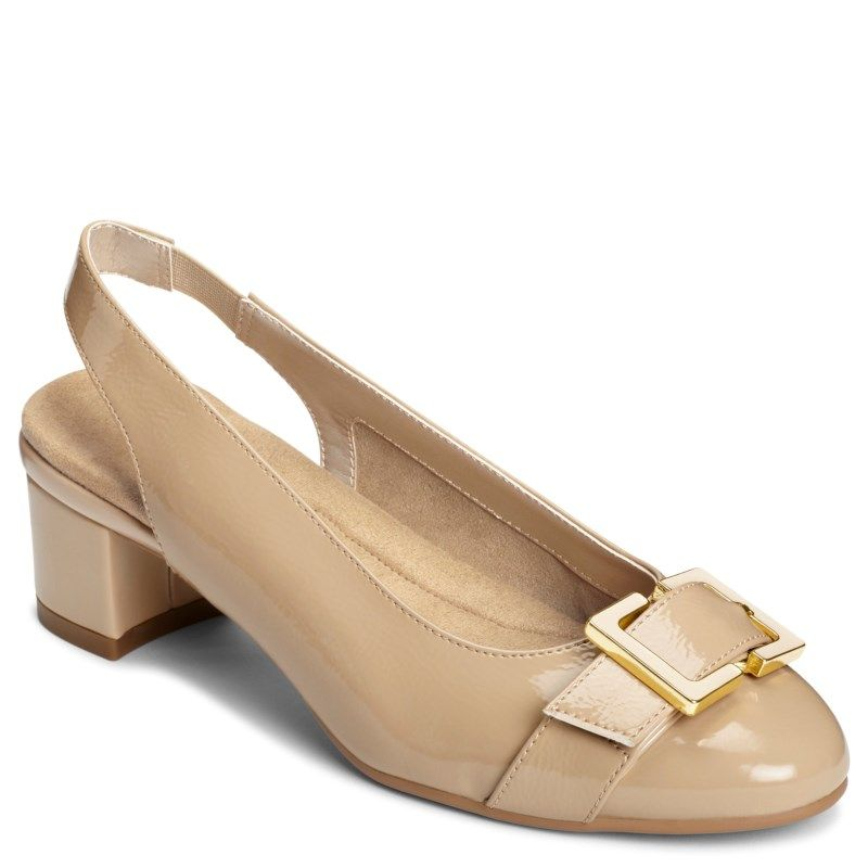 Aerosoles Women's Ink Pad Medium/Wide Pump Shoes (Nude Patent)