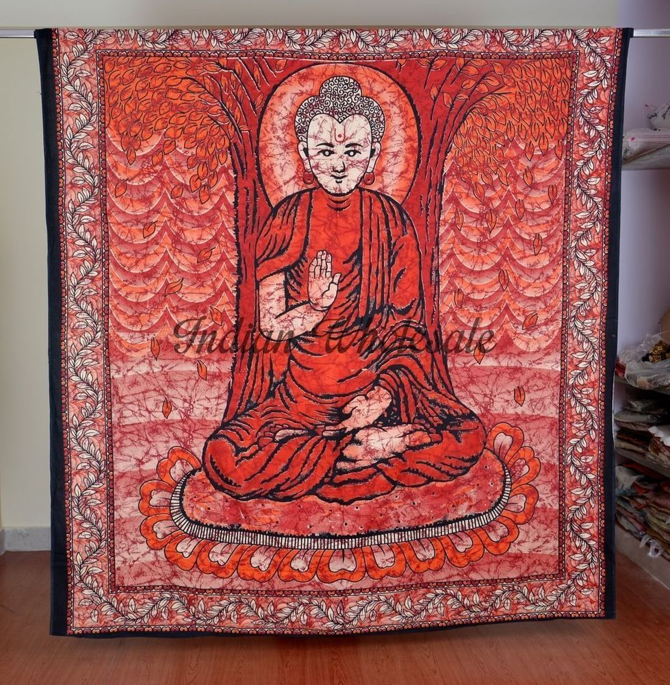 Buddha Tapestry Wall Hangings indian cotton queen batik buddha wall hanging tapestry bedspread