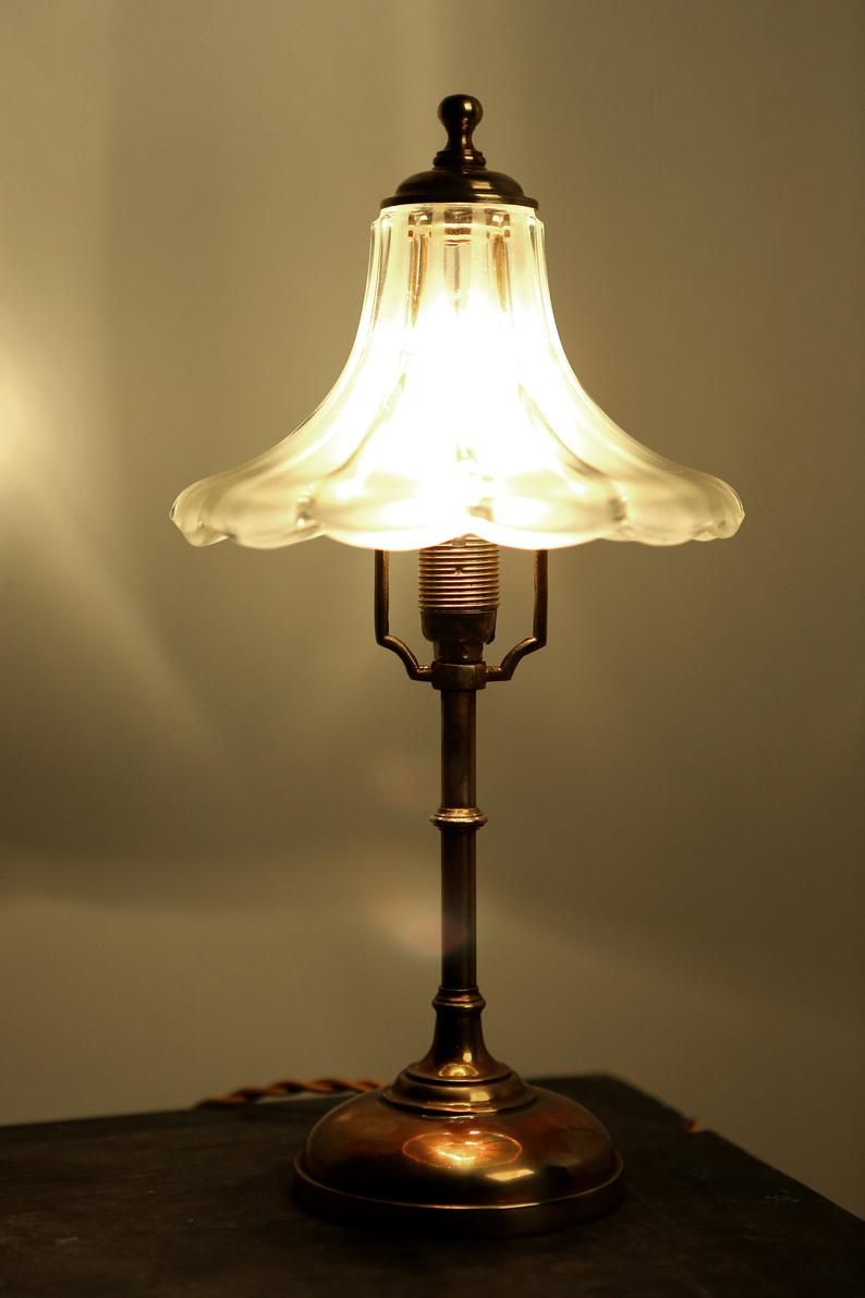 Antique Table Lamp Br With Crystal