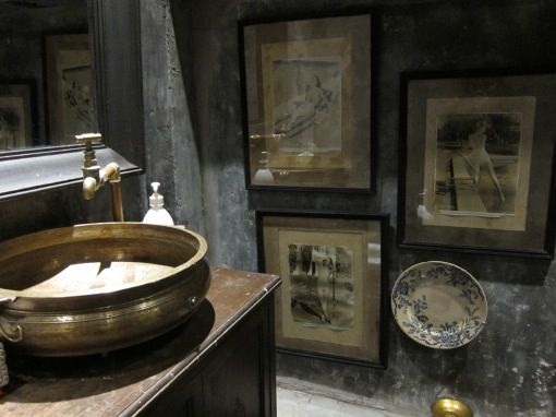 A south indian brass urli and antique tap serve as the wash basin at ...