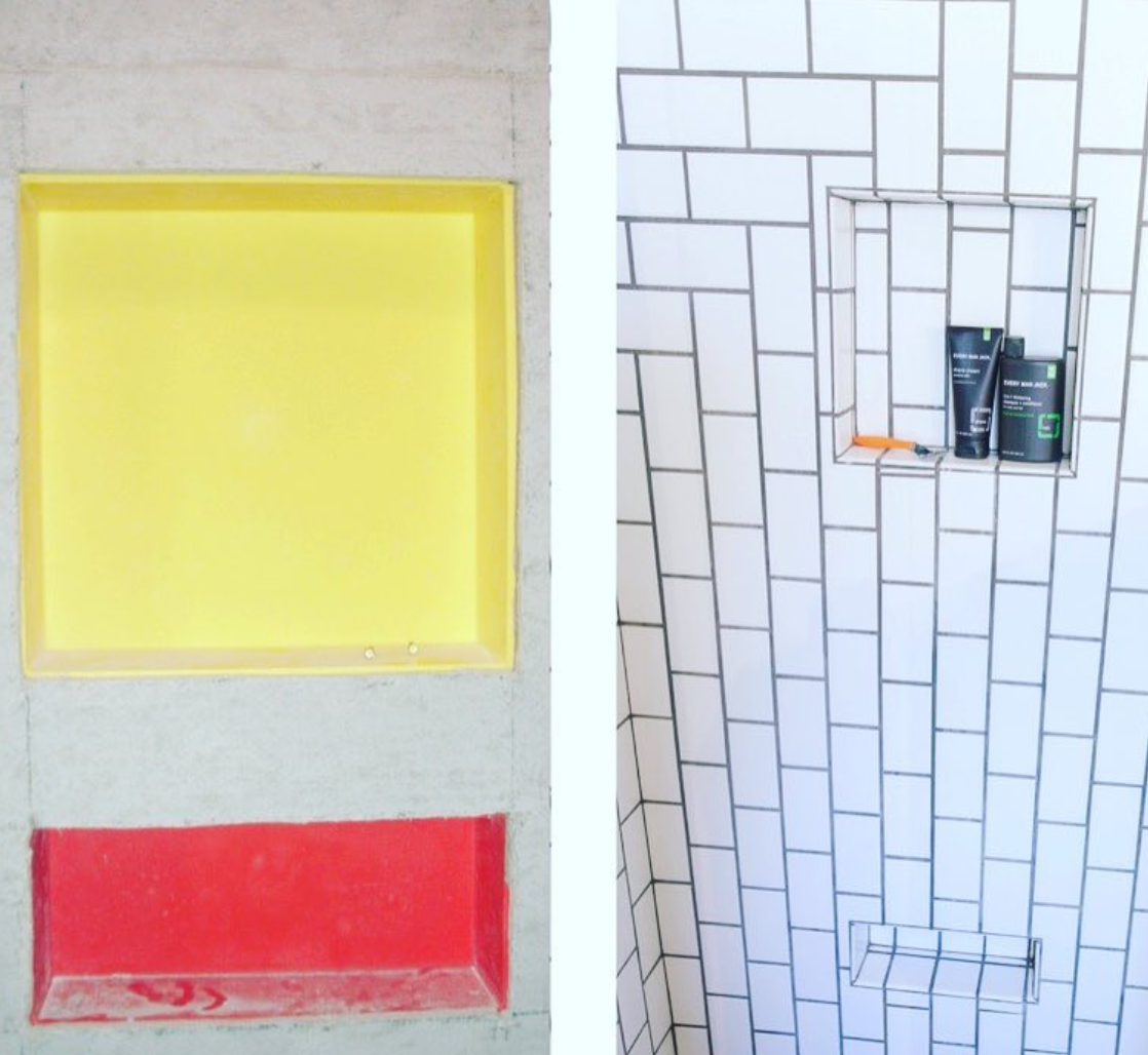 Tiling A Shower Niche Shampoo Shelf Or Shave Step Using Duk Liner Premade Niches Learn More Madeintheusa In 2020 Wall Niche Shower Niche Niche Design