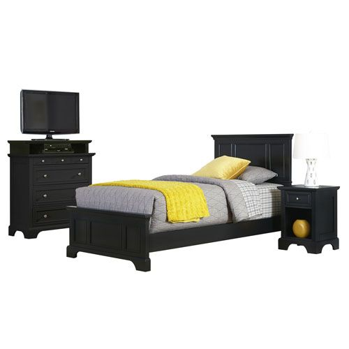 Bedford Black Twin Bed, Night Stand, and Media Chest ...