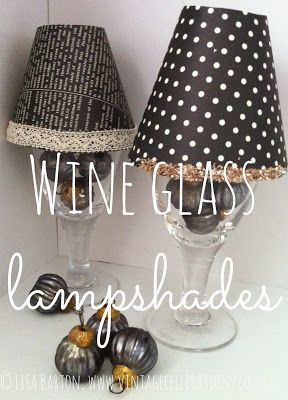 Stampin Up UK demo Lisa Barton for cardmaking,scrapbooking & papercrafting ideas & supplies : Vintage style wine glass lampshades for Thanksgiving & Christmas table settings
