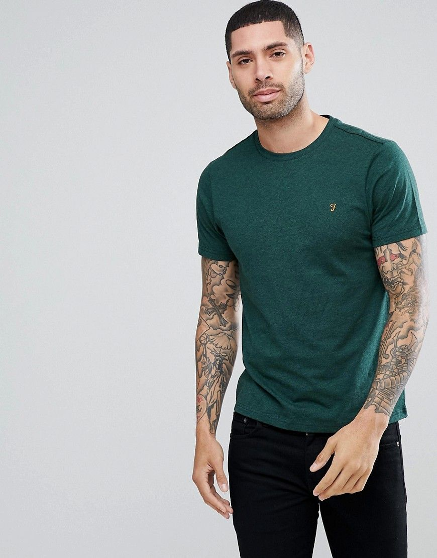 Farah Denny Slim Fit Logo T Shirt In Green Marl   T shirt