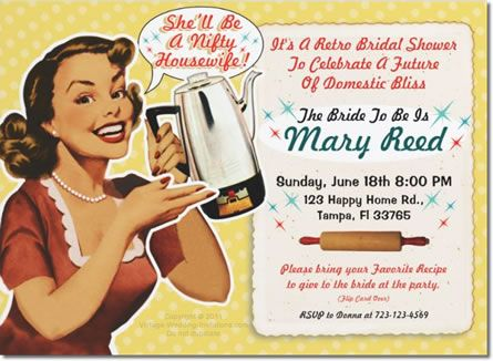 retro housewife bridal shower invitation this is an invite and a collectible recipe card for the bride to be to share in you favorite recipe