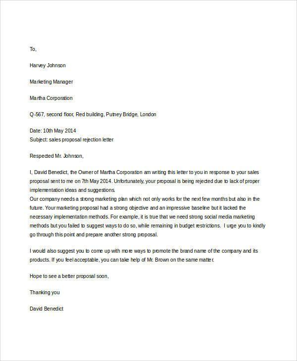 Sale Proposal Letter Lovely Sample Proposal Rejection