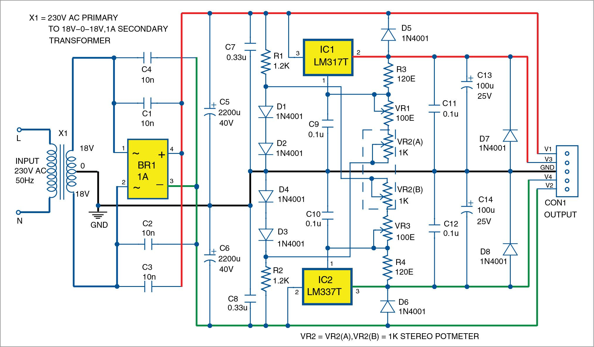 Bipolar Power Supply With Adjustable Regulators In 2018 Escha Lm317 Voltage Regulator Schematic Lm317t And Lm337t Ics Are Well Known Low Cost Capable Of Delivering Up To 15a Current Output Dissipation