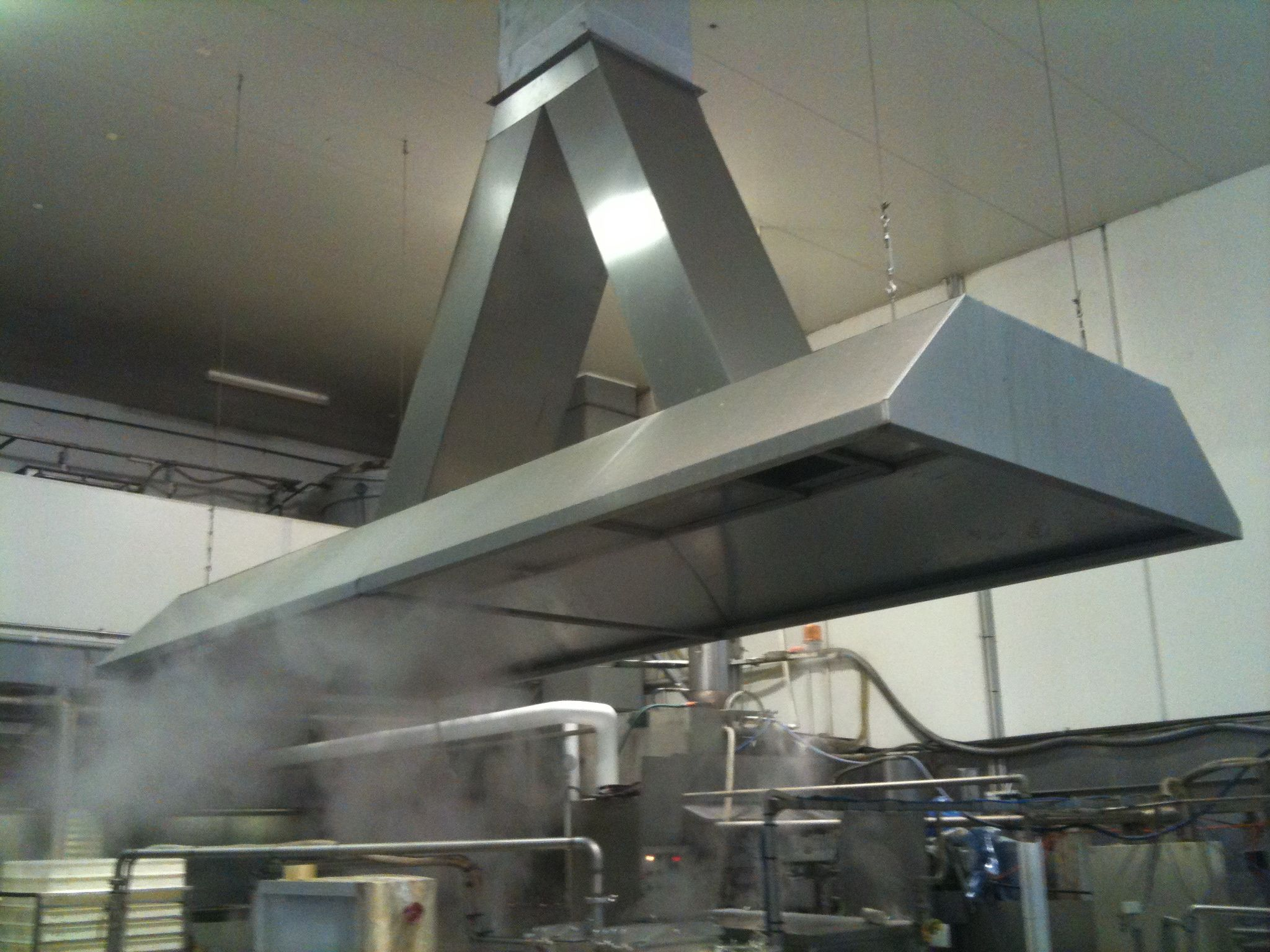 Industrial exhaust hood at a tofu factory