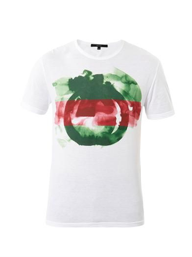 Watercolour Logo Print T Shirt Gucci Matchesfashion Com