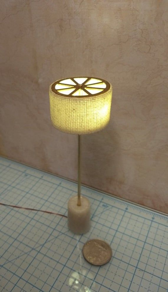 1:12 Dollhouse Miniature Standing Lamp With Cream Shade 12 Volt Working Light