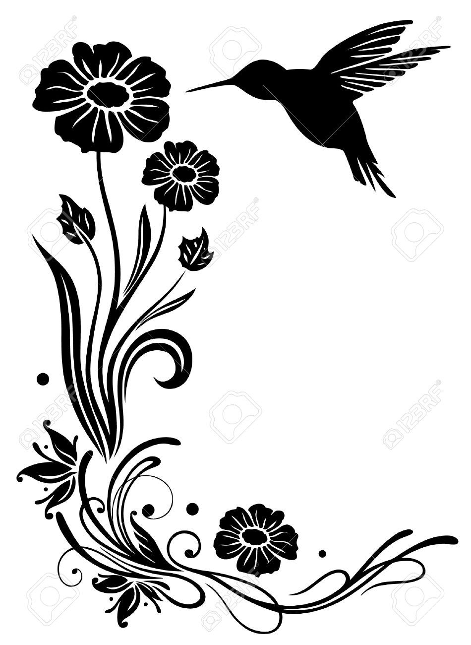 abstract flowers with hummingbird
