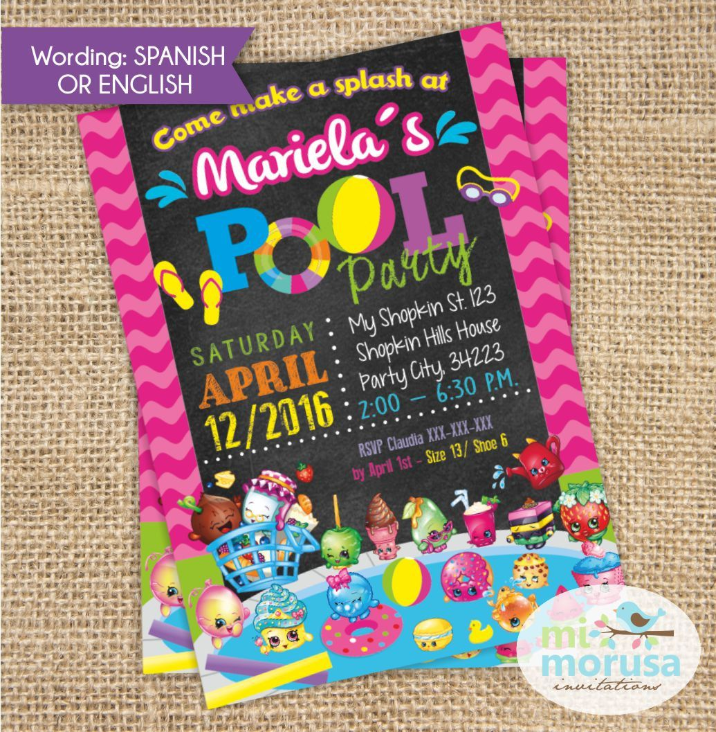 Shopkins Pool Party Invitation, Chalkboard background, printable ...