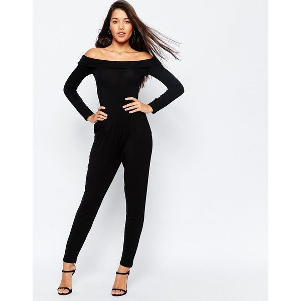ASOS Bardot Peg Leg Jersey Jumpsuit with Long Sleeve ($46) ❤ liked on  Polyvore