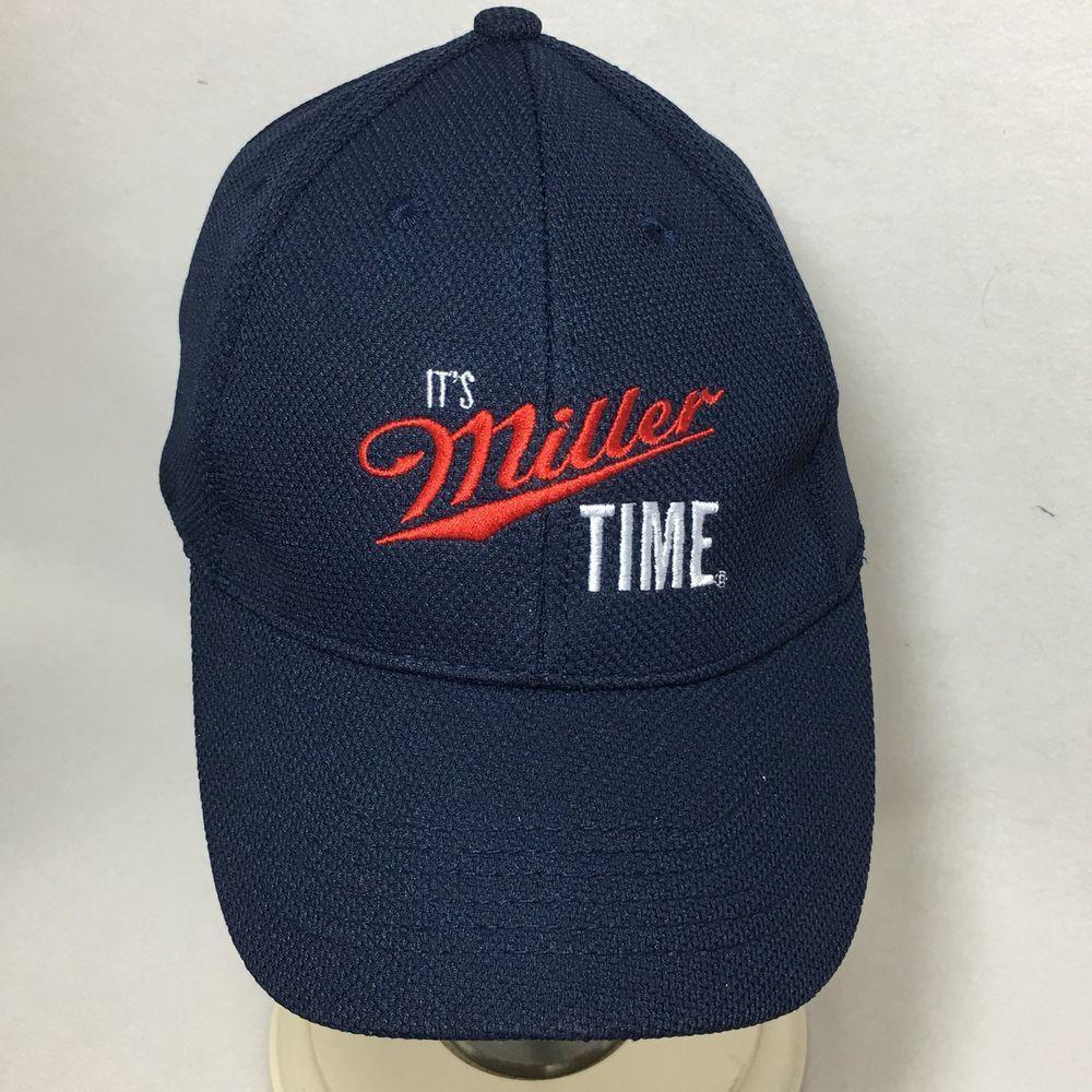 Its Miller Time Hat Lite Beer Fitted Medium Large Blue Vintage Baseball  Style  Miller fc770c654f2f