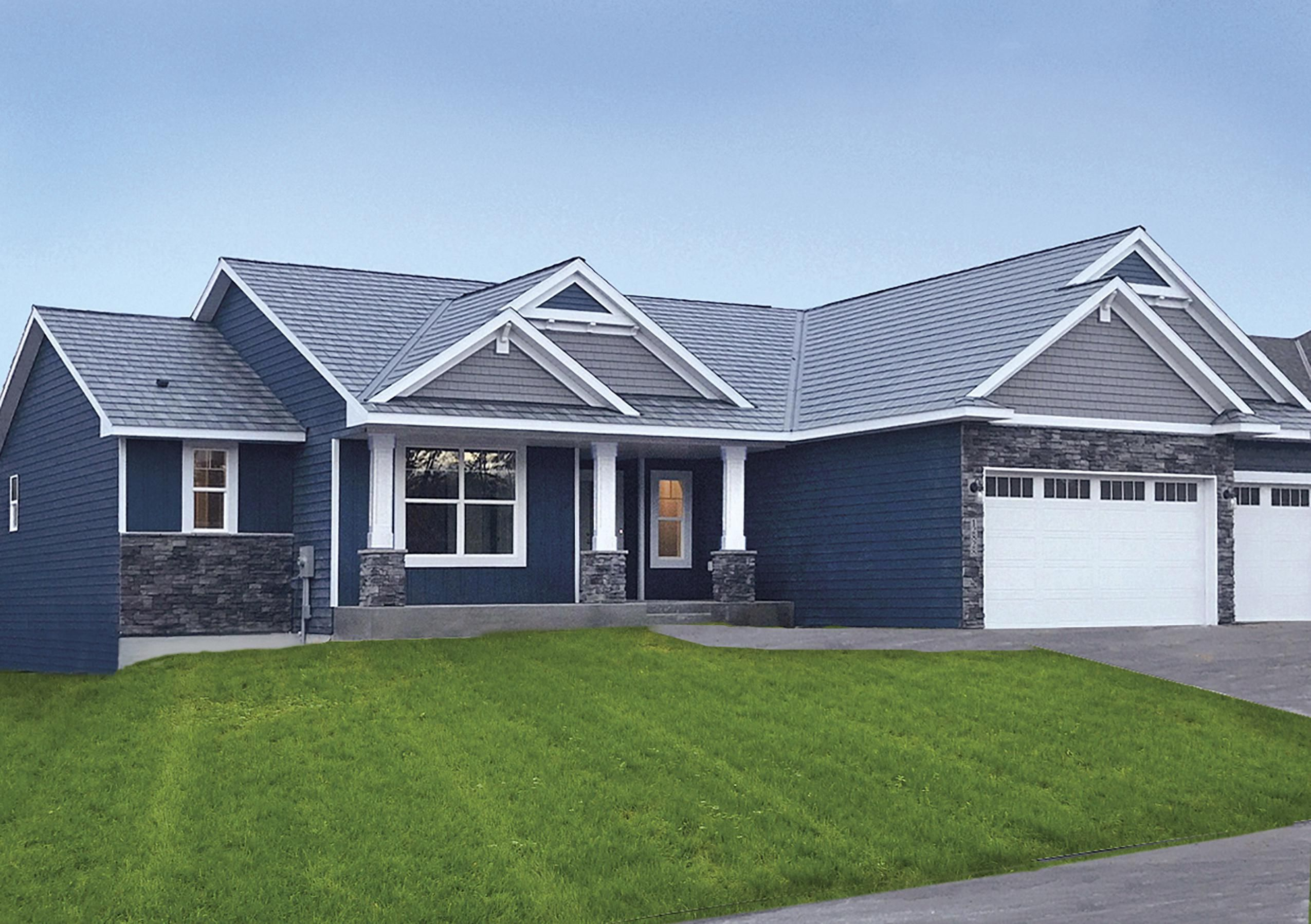 Board And Batten Classic Blue House Exterior Blue Metal Roof Colors Steel Siding
