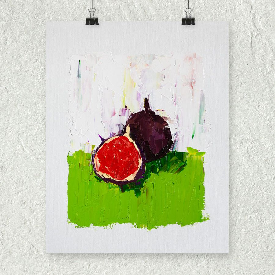 Fig painting bright colors red and green still life fruit