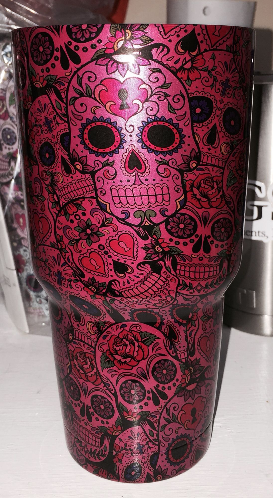 Metallic pink sugar skulls 30oz Yeti cup Lonestar Concepts & Design lonestarjess15@yahoo.com