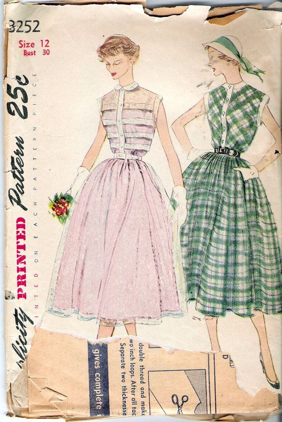 Vintage 1950 Simplicity 3252 One Piece Dress Sewing Pattern Size 12 ...