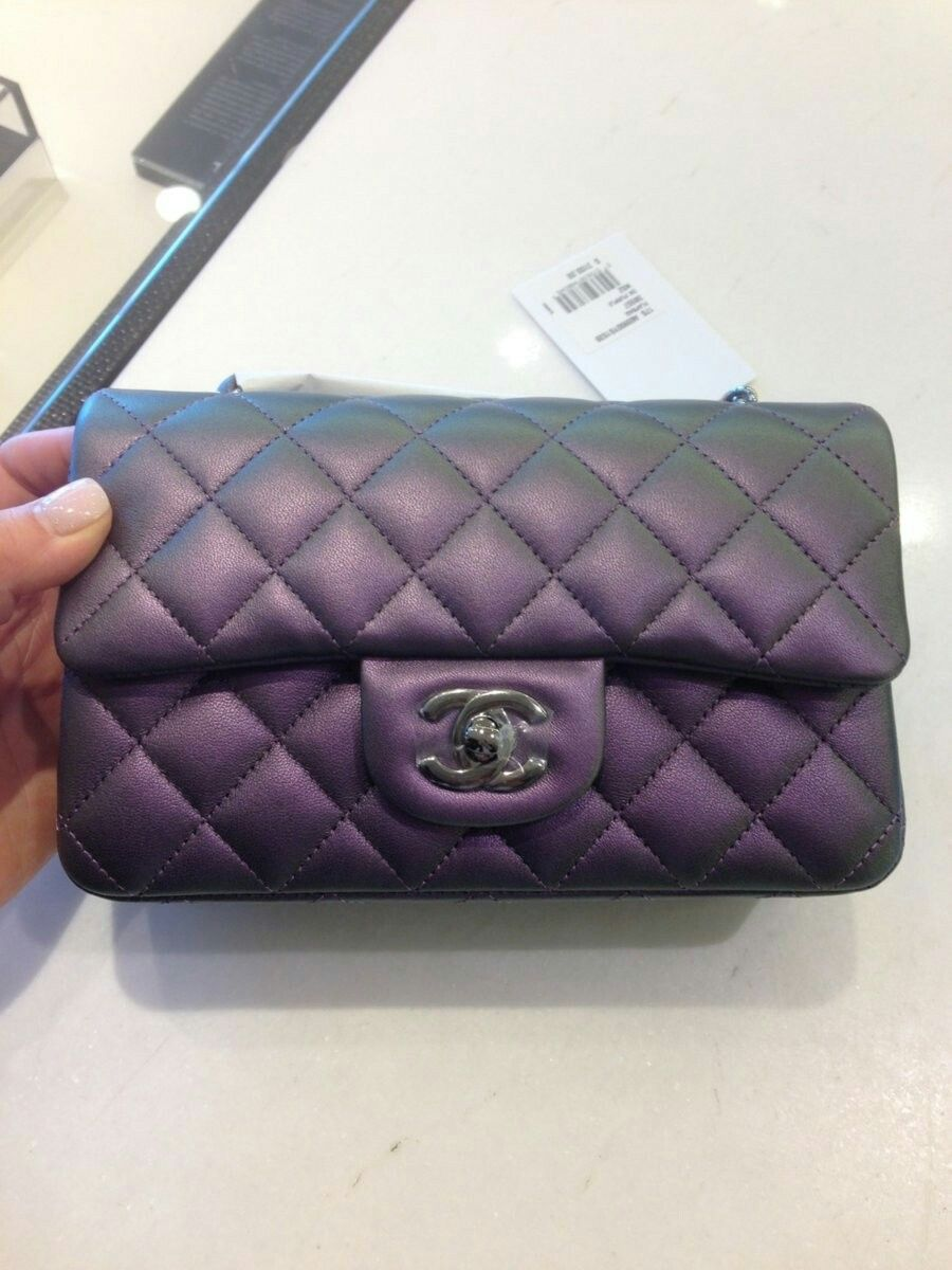 5107f22a9448 RARE-CHANEL-Rectangle-IRIDESCENT-Purple-Rainbow-Mini-Flapbag-Classic-BNIB-NWOT  | My Style | Chanel bag classic, Chanel, Chanel mini