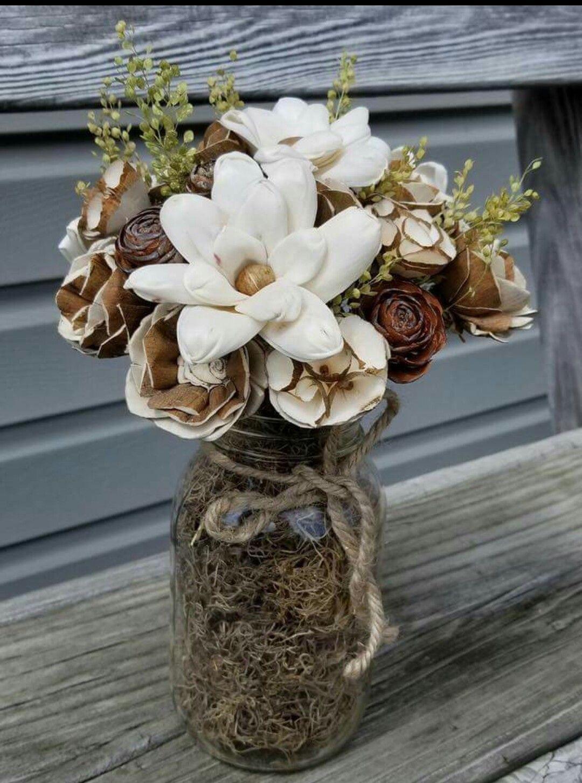 My wedding Wood flowers, Sola wood flowers, Mason jar