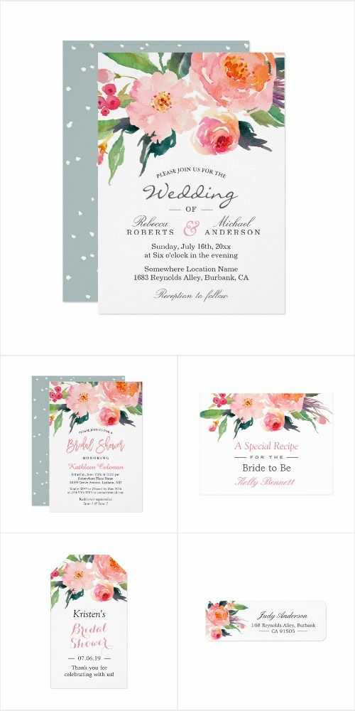 A Modern Watercolor Chic Floral Invitation Suite With Items From