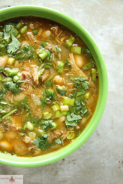 Pork Chili Verde with White Beans and Cilantro
