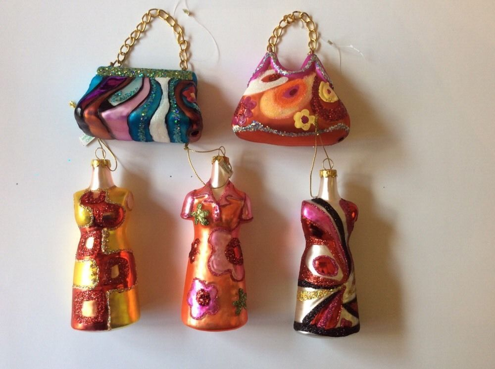 Lot Of 5 N Glass Purse And Dress Holiday Christmas Ornaments Multicolor In Collectibles Seasonal Current 1991 Now Ebay
