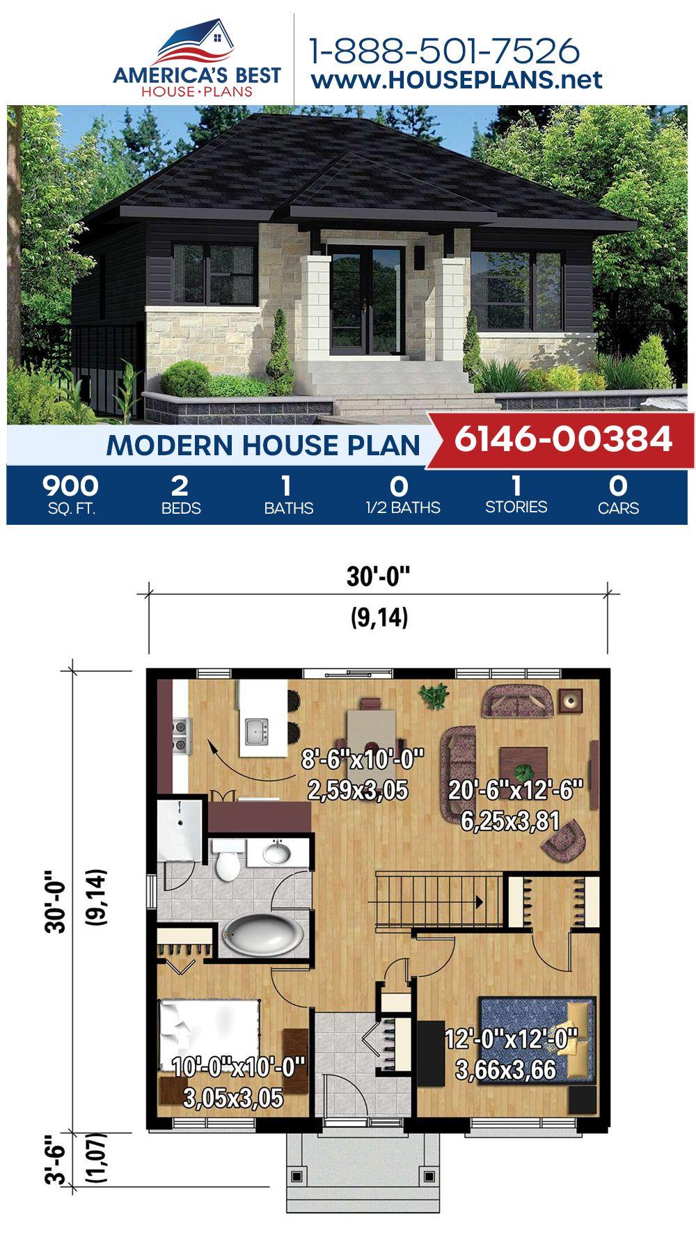 House Plan 6146-00384 - Modern Plan: 900 Square Feet, 2 ...