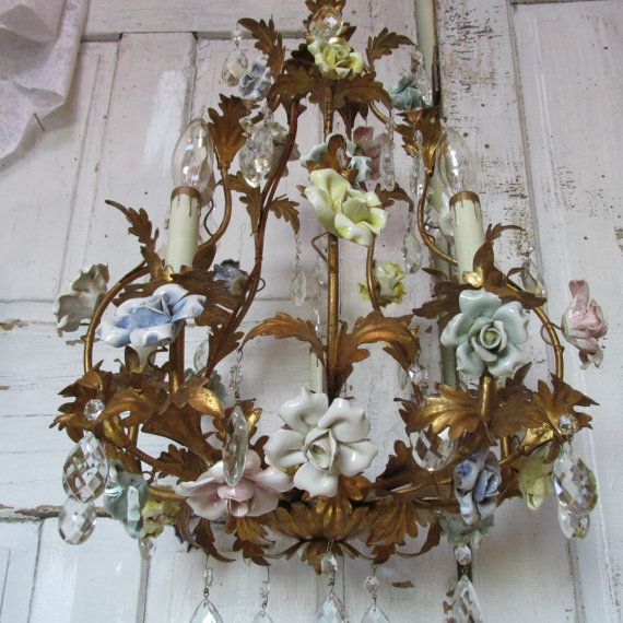Antique tole birdcage chandelier gold gilded crystal pastel porcelain roses Huge gilt ceiling fixture shabby chic lighting decor anita spero