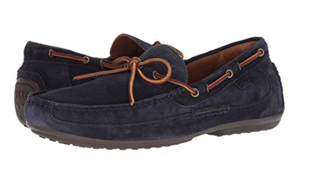 939bb9993f1  104.99 Add effortless style to your relaxed attire with the Polo Ralph  Lauren™ Roberts loafer. Suede leather upper. Slip-on loafer. Tie detail at  vamp.